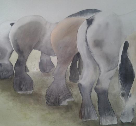 Boerenpaarden [Aquarel]